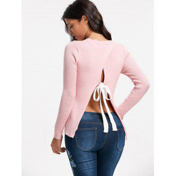 Back Slit Ribbed Sweater - PINK L