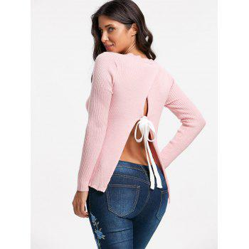 Back Slit Ribbed Sweater - PINK PINK