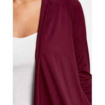 Asymmetrical Draped Open Front Cardigan - WINE RED S