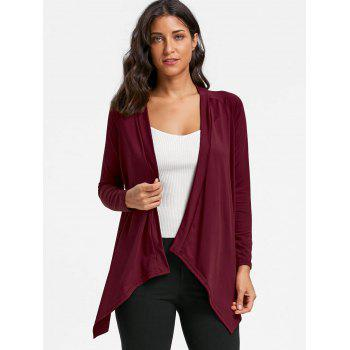 Asymmetrical Draped Open Front Cardigan - WINE RED WINE RED