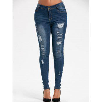 Destroyed Skinny Denim Jeans - BLUE BLUE