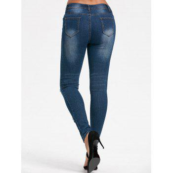 Destroyed Skinny Denim Jeans - BLUE L