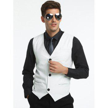 Belt Design Edging PU Leather Waistcoat - WHITE WHITE