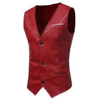 Belt Design Edging PU Leather Waistcoat - RED 2XL