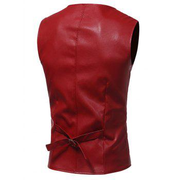 Belt Design Edging PU Leather Waistcoat - 2XL 2XL