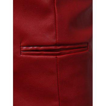 Belt Design Edging PU Leather Waistcoat - RED L