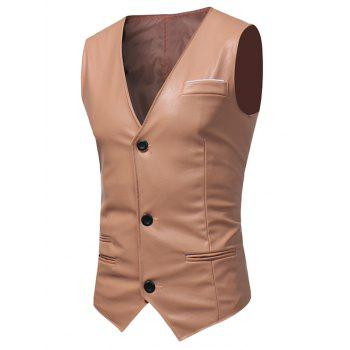 Belt Design Edging PU Leather Waistcoat - PAPAYA 2XL