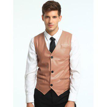 Belt Design Edging PU Leather Waistcoat - PAPAYA XL