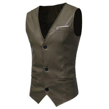 Belt Design Edging PU Leather Waistcoat - ARMY GREEN ARMY GREEN