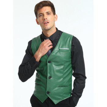 Belt Design Edging PU Leather Waistcoat - GREEN GREEN