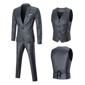 One Button Three-piece Business Suit - SILVER 2XL