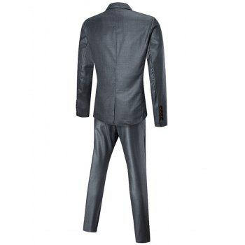 One Button Three-piece Business Suit - SILVER 3XL