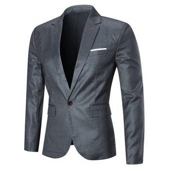 One Button Three-piece Business Suit - SILVER 4XL
