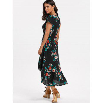 Floral V-neck Cap Sleeve Maxi Dress - M M