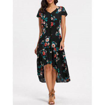 Floral V-neck Cap Sleeve Maxi Dress - BLACK M