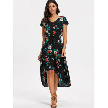 Floral V-neck Cap Sleeve Maxi Dress - BLACK BLACK