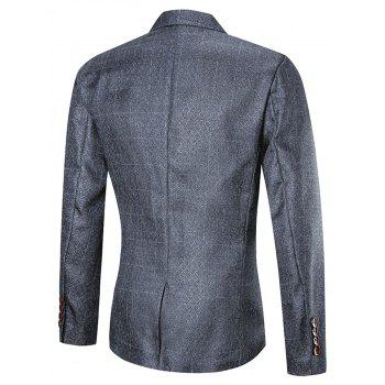 Argyle One Button Three Piece Business Suit - PEARL DARK GREY 2XL