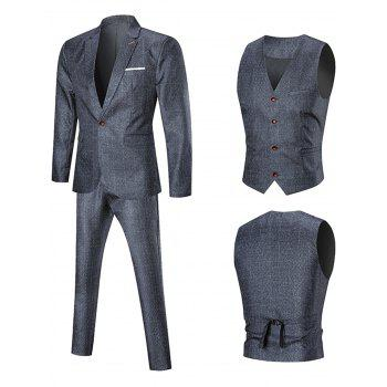 Argyle One Button Three Piece Business Suit - PEARL DARK GREY 3XL