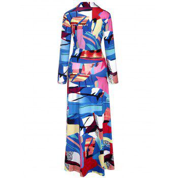 Geometric Print Floor Length Surplice Dress - COLORMIX COLORMIX