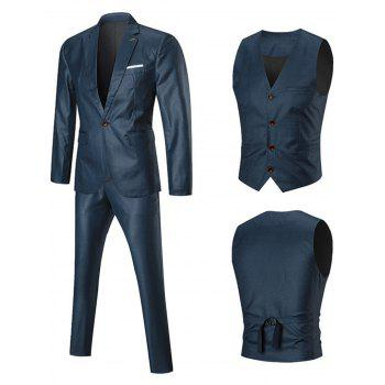 One Lapel Button Three-piece Business Suit - BLUE 2XL