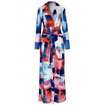 Long Sleeve Print Surplice Dress - COLORMIX COLORMIX