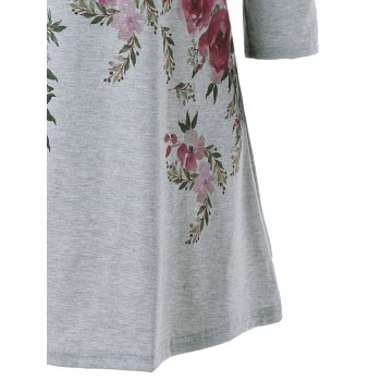 Mini Floral Print Cold Shoulder Dress - GRAY XL