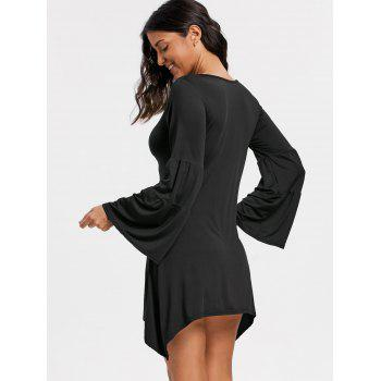 Asymmetrical Bell Sleeve Mini Dress - BLACK M