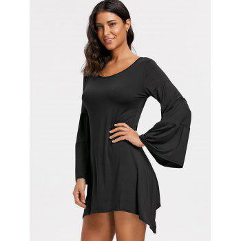 Asymmetrical Bell Sleeve Mini Dress - BLACK L