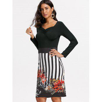 Stripe Floral Print Bodycon Dress - M M