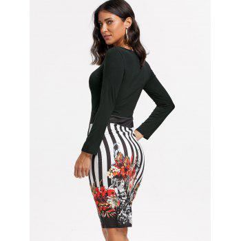 Stripe Floral Print Bodycon Dress - XL XL