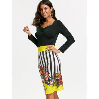 Stripe Floral Print Bodycon Dress - YELLOW XL