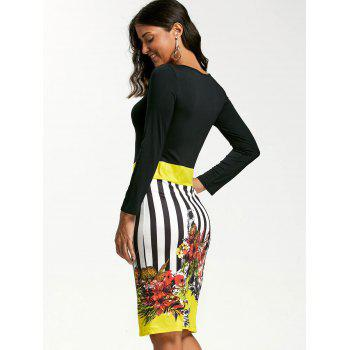 Stripe Floral Print Bodycon Dress - YELLOW YELLOW