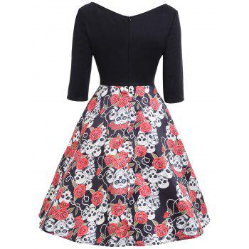 Halloween Floral Skull Print Vintage Dress - COLORMIX XL