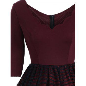V Neck Lace Panel A Line Dress - WINE RED S