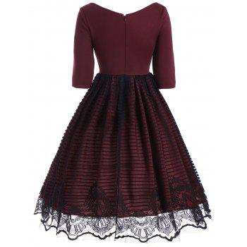 V Neck Lace Panel A Line Dress - WINE RED M