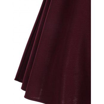 Skew Neck Lace Panel Vintage Dress - Rouge vineux S