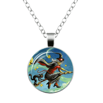 Halloween Devil Witch Cat Star Necklace -  SILVER