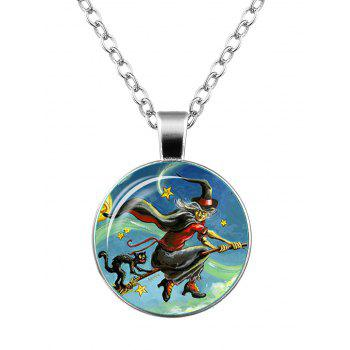 Halloween Devil Witch Cat Star Necklace - SILVER SILVER