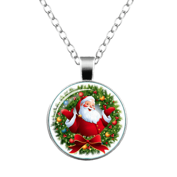 Christmas Santa Bowknot Wreath Pendant Necklace -  SILVER
