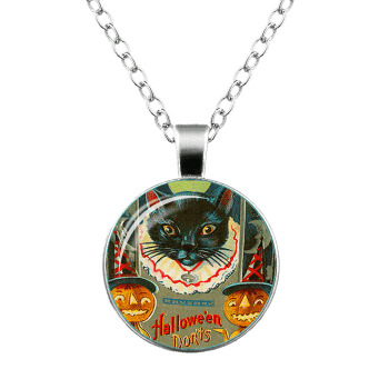 Halloween Pumpkin Devil Cat Moon Necklace -  SILVER