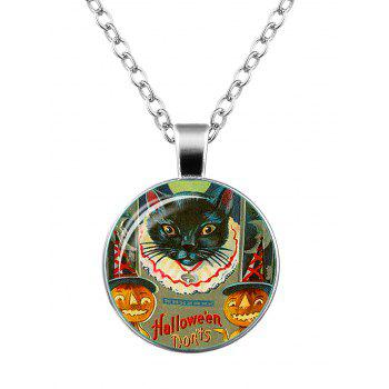 Halloween Pumpkin Devil Cat Moon Necklace - SILVER SILVER