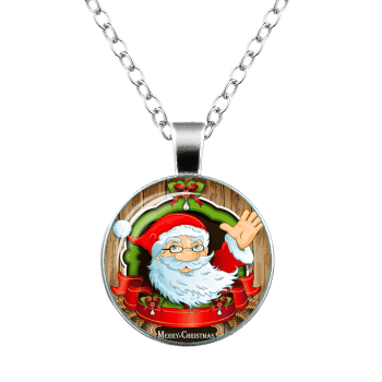 Merry Christmas Santa Bowknot Teardrop Necklace - SILVER
