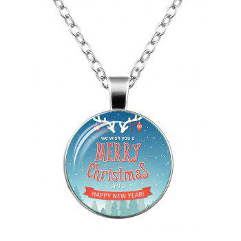 Merry Christmas Deer Happy New Year Necklace - SILVER SILVER