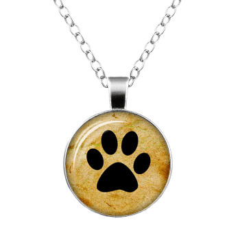 Dog Paw Round Charm Necklace - SILVER
