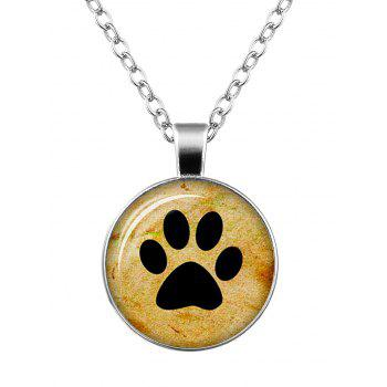 Dog Paw Round Charm Necklace - SILVER SILVER