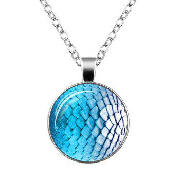 Dragon Scale Armor Round Charm Necklace - SILVER SILVER