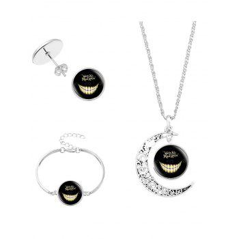 Alice's Evil Smile Moon Shape Necklace Bracelet Earring - SILVER SILVER