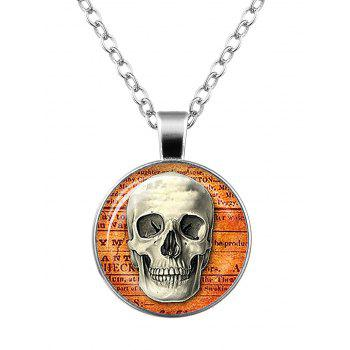 Halloween Skull Cameo Charm Necklace - SILVER SILVER