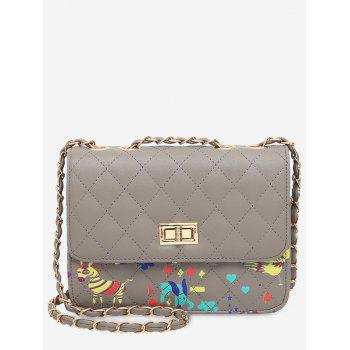 Print Animal Quilted Crossbody Bag - GRAY GRAY