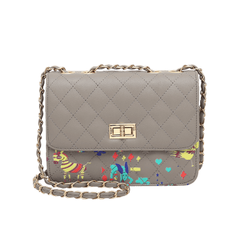 Print Animal Quilted Crossbody Bag -  GRAY